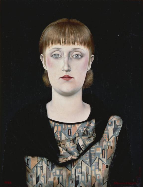 中原實《月光と肖像(星と女性)》1929