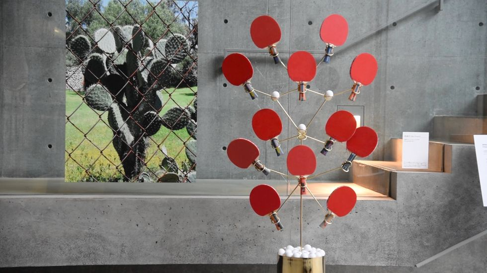サボテンの形態からアイデアを得たという、渡辺紘平さんの作品「卓球ラケットスタンド」