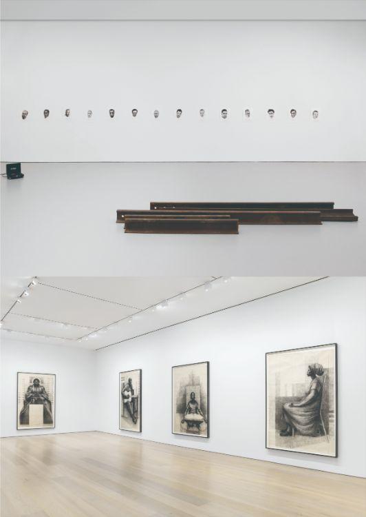 写真上:19ストリートのギャラリーで行われた詩人のジェイムズ・アーサー・ボールドウィン(アメリカの小説家、著作家、劇作家、詩人、随筆家および公民権運動家)の肖像展/Installation view, God Made My Face: A Collective Portrait of James Baldwin, David Zwirner, New York, 2019 Courtesy David Zwirner  写真下:20ストリートのMoMAでも大規模な回顧展が行われた、チャールズ・ホワイトの個展/Installation view, Charles White: Monumental Practice, David Zwirner, New York, 2019 Courtesy David Zwirner
