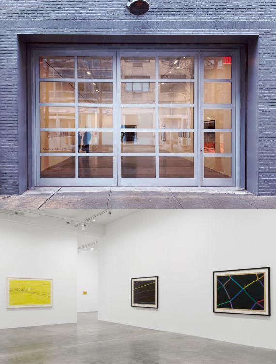 写真上:マシュー・マークス・ギャラリーの入り口(24ストリートの写真のみ) 写真下:ギャラリー・スペースでのデイビッド・ワイズの個展風景(24ストリートの写真のみ)/© The Estate of David Weiss, Courtesy Matthew Marks Gallery1