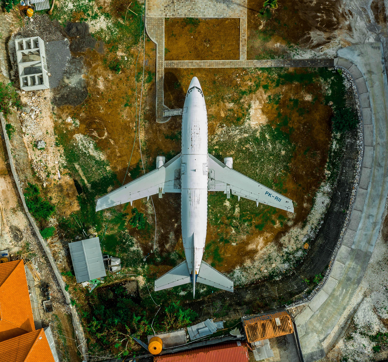 インドネシア・バリ。飛行機を上から空撮