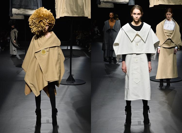 トレンチコートのポケットの服(左)と、シャツの襟の服(右)