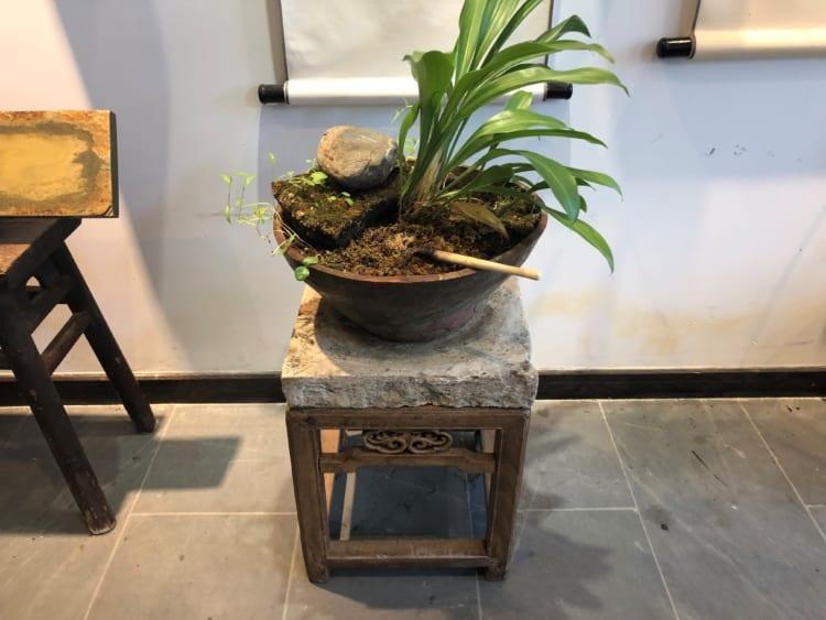 今、一番よく聞かれる質問。「ナガオカさんは、なぜ、急にデザインの中に健やかさを意識しているのか」と。これはぼくも正直、まだはっきりと答えられません。最近、中国に通っていると、20代半ばのクリエーターが事務所によくこうした風景をつくっていることに気づき、また、そこに居心地のよさを感じることが多くなった。風化した岩や水、植物に、流木……。無理のない造形に、美を感じるのだろう。そこに健やかさも