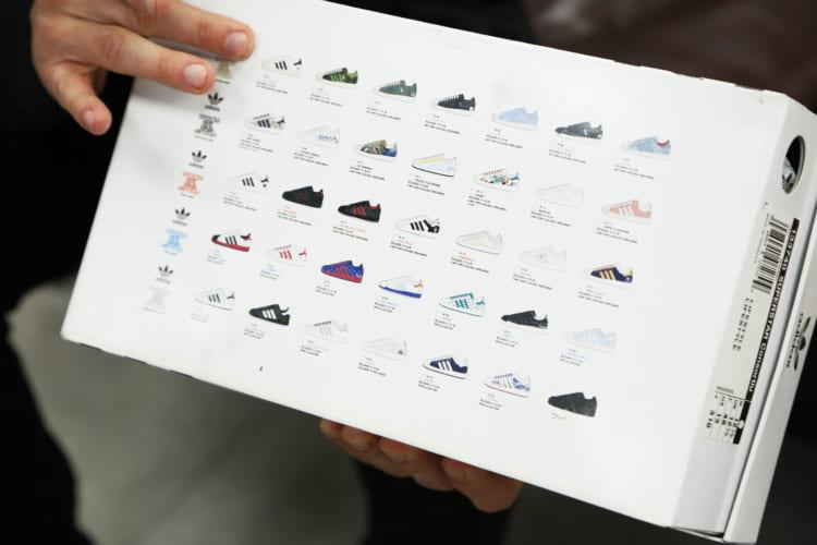 シューズボックスの裏側には35種類のコラボレーションモデルが一堂に並んでいる