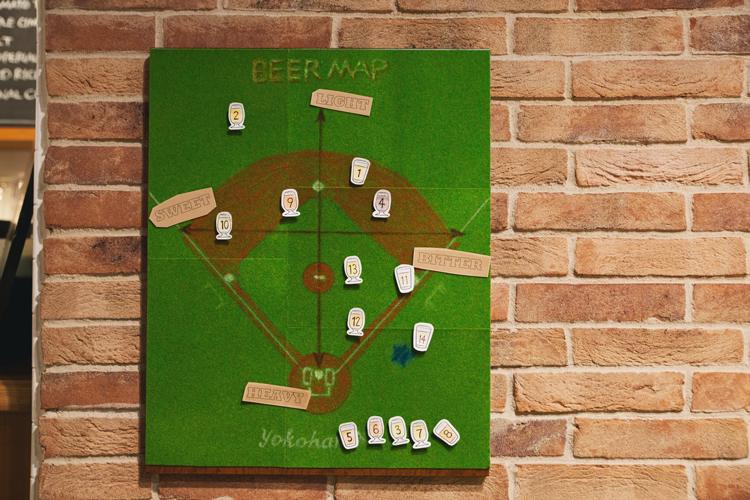 野球のグラウンドを模したビールの分類表。プロ野球球団ならではの遊び心あふれるデザイン
