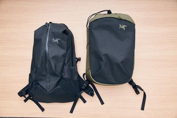 2019年にリニューアルされた「アロー22」(左)と新たに登場した「アロー20 バケットバッグ」(右)