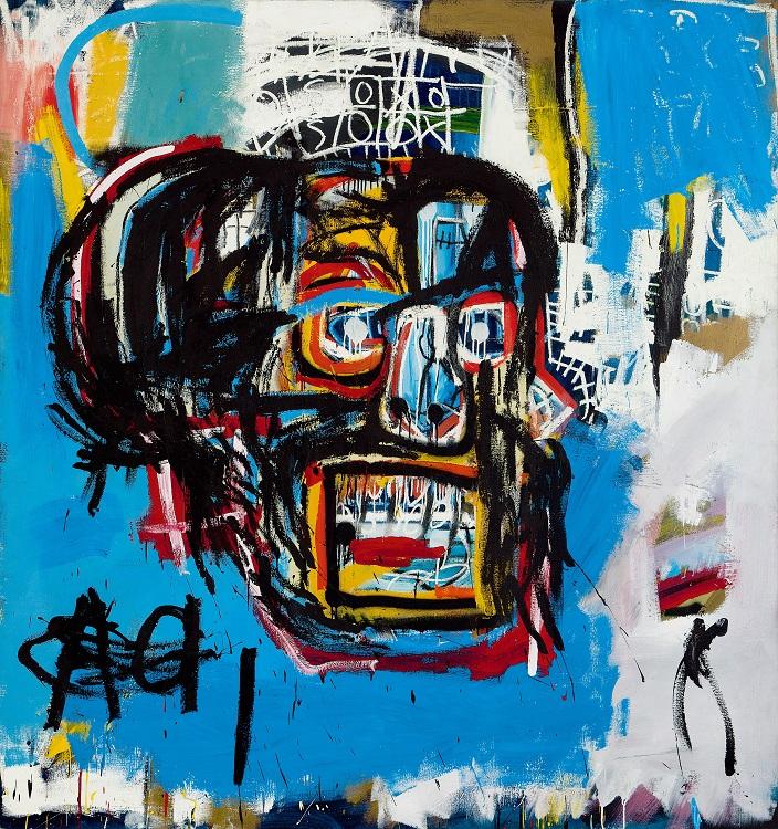 この絵は森美術館で行われていたバスキアの個展「メイド・イン・ジャパン©展」でも飾られていた /ジャン=ミシェル・バスキア Untitled, 1982 oilstick, acrylic, spray paint on canvas 183.2 x 173 cm Yusaku Maezawa Collection, Chiba Artwork © Estate of Jean-Michel Basquiat.  Licensed by Artestar, New York