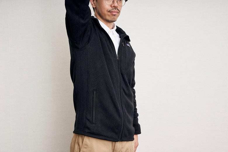 ラグランスリーブなので、腕が動かしやすく、バックパック着用時に肩に縫い目が当たることもない