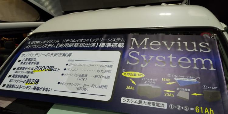 ケイワークスの車両にディスプレイされた、同社オリジナルのサブバッテリーシステムの説明。リチウムイオンバッテリーのメリットが分かりやすく紹介されている