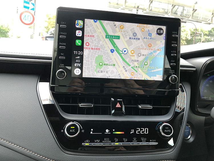 写真はオプションの9インチディスプレーオーディオで、空調のコントロールパネルにやはりオプションのエアクリーンモニター