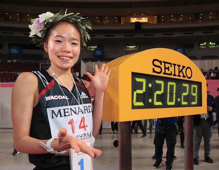 国内最高記録をマークし東京五輪代表に内定した一山麻緒=2020年3月8日午前、名古屋市東区、代表撮影