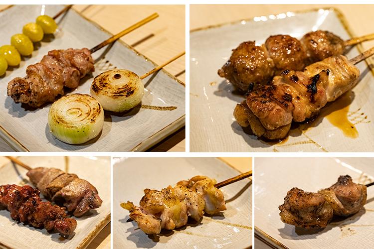 ももとむね肉の両方を1本で食べられる「かしわ」など、オーソドックスな焼き鳥以外に、「そり(尻の上の筋肉で、フランスではソリレスと呼んで珍重される)」や「せせり(首肉)」、「背肝(腎臓)」「げんこつ(ひざ軟骨)」など、珍しい部位がたくさん揃う