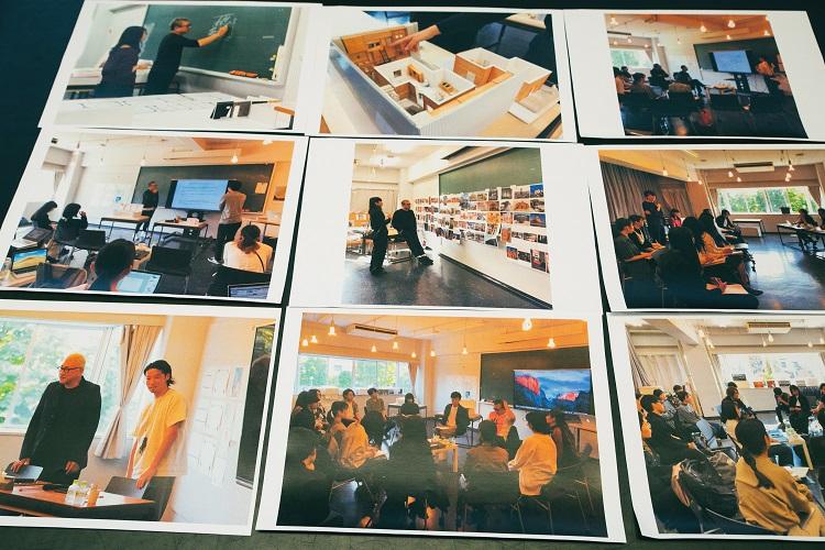 """片山ゼミの講義風景。""""クライアント""""へのプレゼンテーションは模型で行う(写真・上段中央)"""