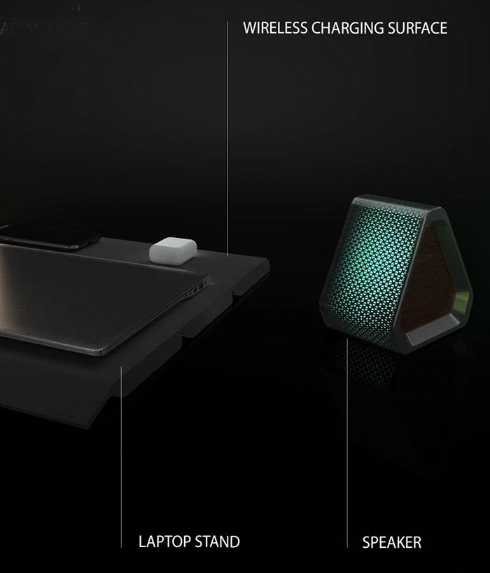 三角柱の中央部は、展開するとラップトップスタンドに。その一部にはワイヤレス充電機能が組み込まれている。右端はスピーカー機能が内蔵されている