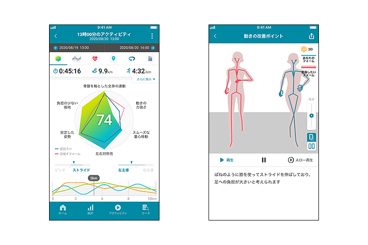 【写真2】スマートフォンアプリ「Runmetrix」の画面。左が情報を視覚化したレーダーチャート。右は走行フォームのアニメーション