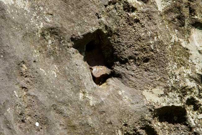 破却された石垣の中にある、石を割るための矢穴が空いたまま割れずに残った石材。石割道具の矢が折れたまま残る
