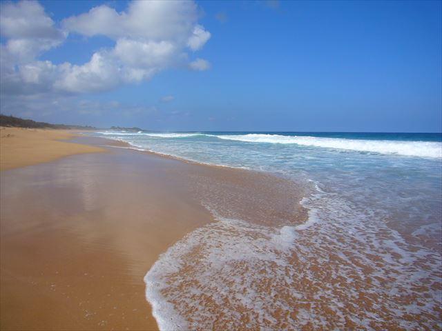 長さ約5キロ、幅約90メートル、ハワイ最大のパポハクビーチ。あまりに壮大で、人がいないと心細くもなります