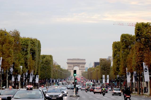 現代アートの見本市「FIAC」の旗が両側に揺れる、シャンゼリゼ通り。メイン会場のグラン・パレは、ここからすぐ近く