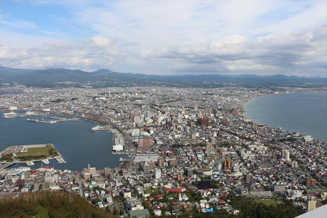 市街地の両側に海が迫る地形を見下ろす函館山からの展望。夜景も素晴らしい