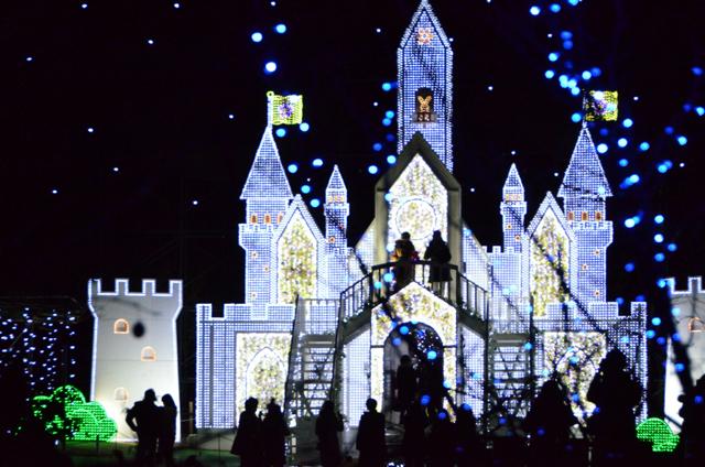 「フラワーキャッスル」の城は入ることができる。内部は花が敷き詰められたフォトジェニックな空間