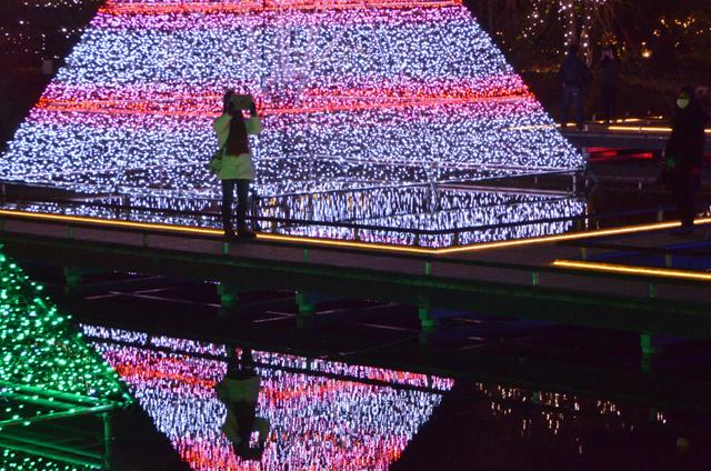 水面に浮かび上がる光の芸術