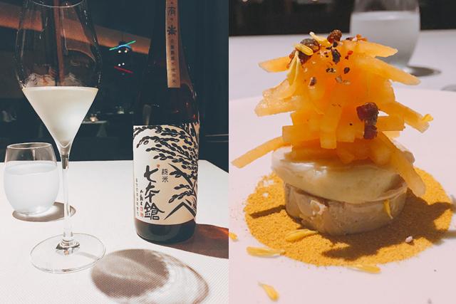 純米酒「七本槍(しちほんやり)」(左)、3品目「鮒鮓(ふなずし)甘露漬けとフォワグラテリーヌ 金つばと柿」(右)