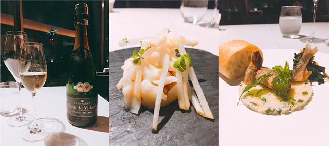 シャンパン「ジャン・ド・ヴィラレ・ブリュット」(左)、1品目「琵琶鱒(マス) 百合根と青林檎(りんご) 柚子(ゆず)の香り」(中)、2品目「子持ち鮎(アユ) クスクス 葉唐辛子」(右)