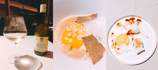 白ワイン、シャルドネ「フランソワ・ダレン」(左)、4品目「鶏のビスク トリュフ」(中)、5品目「太刀魚 蕪(カブ) 川海老(エビ)のエッセンス」(右)