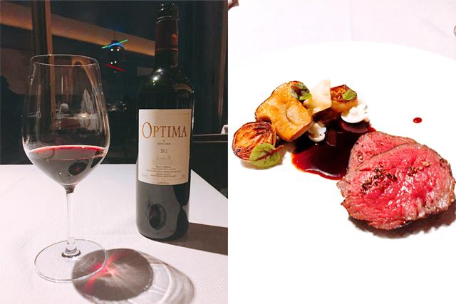 赤ワイン、ボルドー「オプティマ・ド・シャトー・メイル」(左)、6品目「国産和牛のロティ 赤ワインソース キノコ」(右)