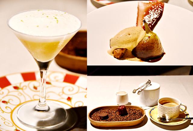 7品目「梨のカクテル」(左)、8品目「イチジクとショコラ ラムのグラス」(右上)、9品目「小菓子とコーヒー」(右下)