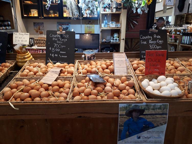 こちらは卵がぎっしり。様々な専門店が並ぶ