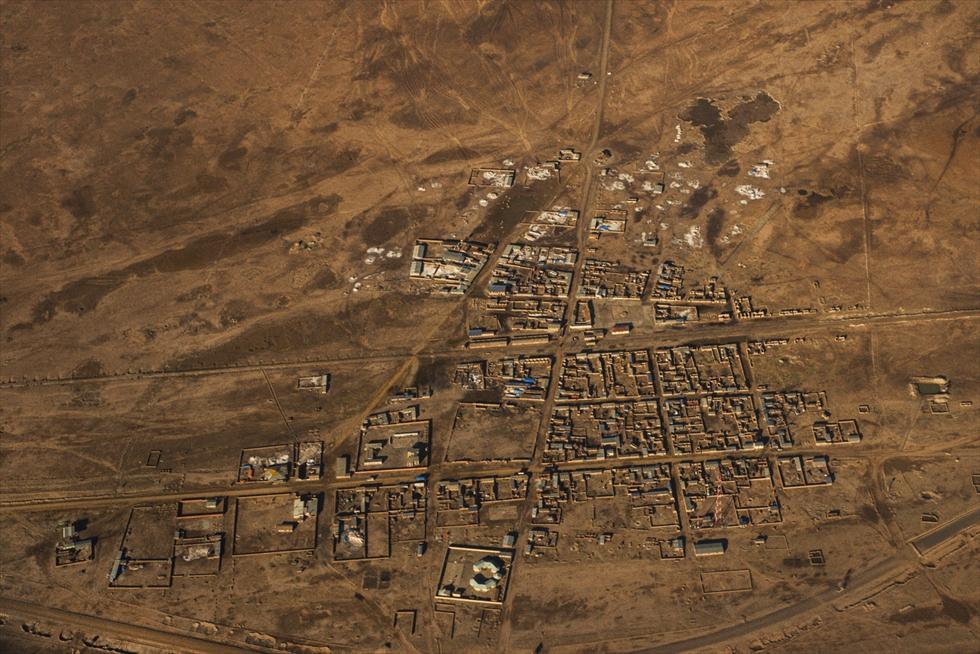 飛行機から一望できる小さな村、ボリビア・コルチャニ村