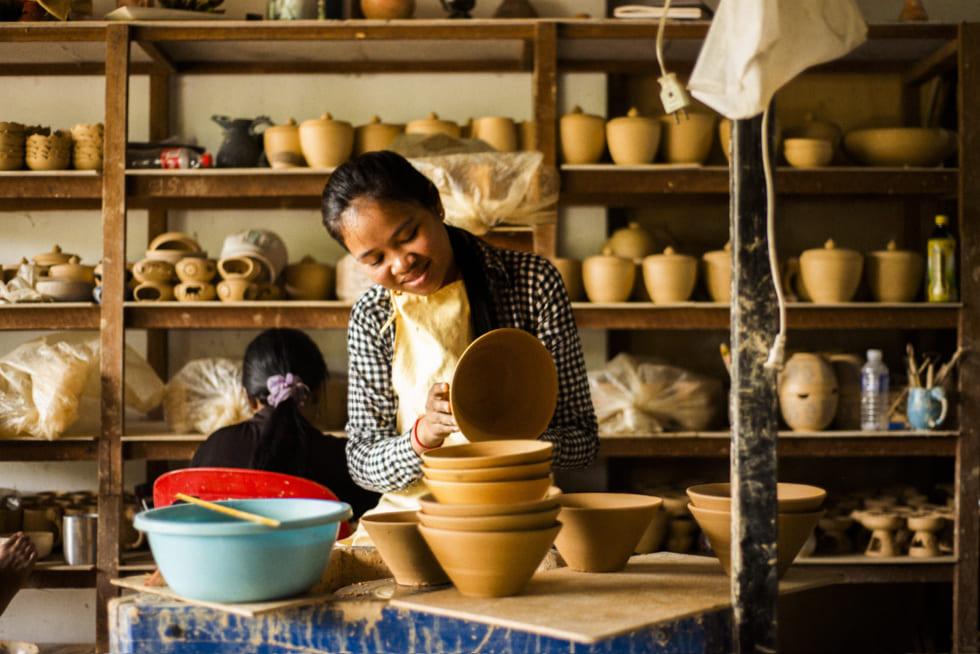 カンボジア・シェムリアップの伝統工芸品店