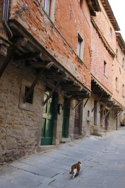 コルトナのヤンネッリ通りにて。2階部分が張り出しているのは、中世のころ1階の面積を基準に課税されたため