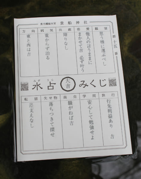「水占みくじ」(画像提供:貴船神社)