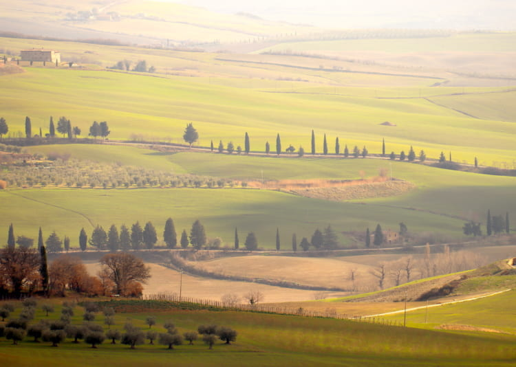 ピエンツァから世界遺産のオルチャ渓谷を望む