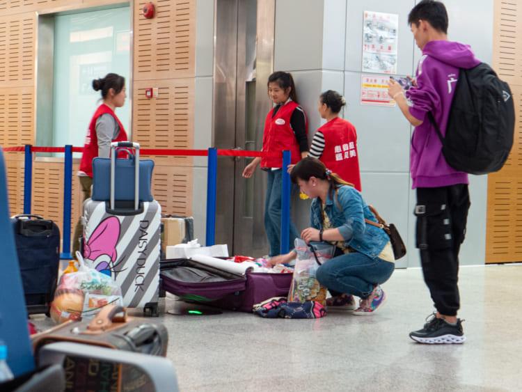 上海南駅のセキュリティーチェック