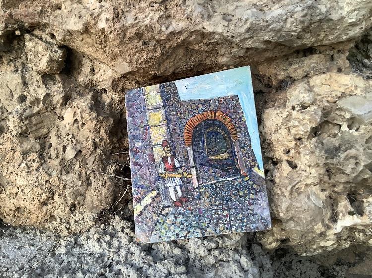 クルヤ城と歩哨の絵
