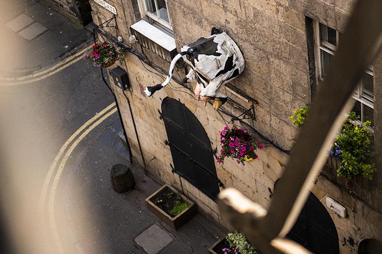 牛のお尻が突き出たエディンバラのお店