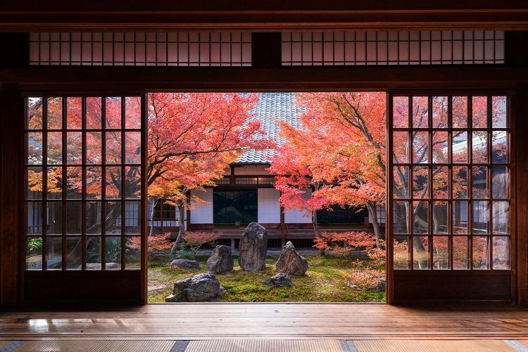中央の三尊石の凜(りん)とした均衡に姿勢を正される。秋は色づいたモミジがひときわ美しい(画像=photolibrary)