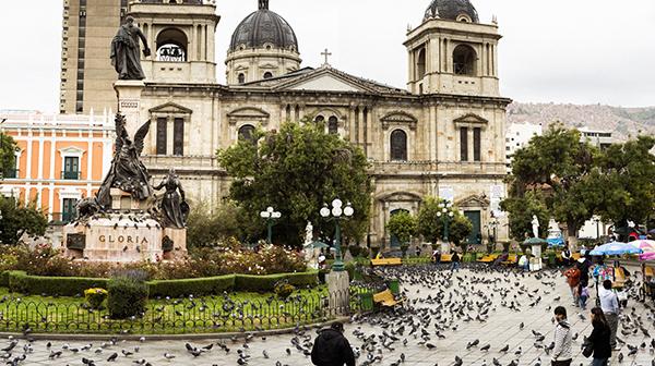 広場にたくさんの鳥、「ラパス」だから? ボリビア