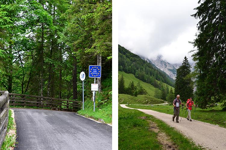 (左)ここからドイツ、(右)細い山道かなと思ったら、広い道が続きます