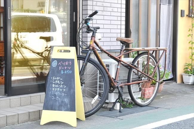 配達用の自転車。店舗がなかった時代はこの自転車の荷台で売っていた