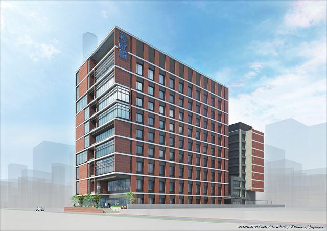 新しく建築された横浜校の新校舎。全国の河合塾で初めて校舎に隣接した寮があり、女子寮も新設された