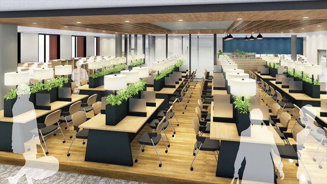 9階には自然光が差し込むセミオープン型の自習室も