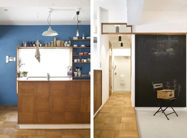 キッチンと床はパーケットで揃えた。黒板は引き戸になっている