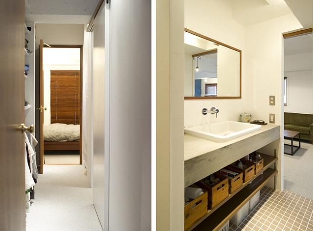 玄関の廊下からウォークスルークローゼットや洗面所を通って寝室へ