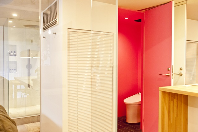 唯一の閉じた空間であるトイレは、思い切ってピンクにペイント