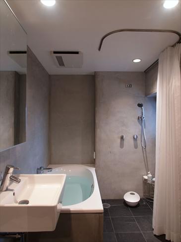 洗い場とトイレが一体となったバスルーム。シャワーカーテンをつけた