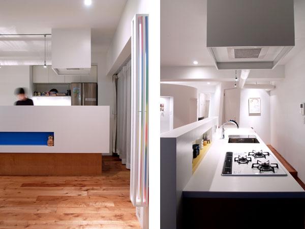キッチンは手元が隠れる高さの壁を設置。すっきりと見える